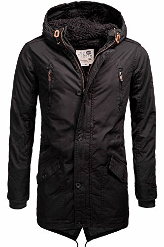 Solid warm gefütterte Herren Parka mit Kapuze Wintermantel Funktionsjacke Übergangsjacke Outdoorjacke Jacke Winterjacke Kapuzenjacke Mantel S M L XL