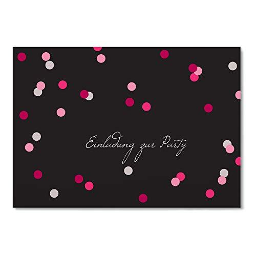greetinks 5 x Einladungskarten für Geburtstag 'Konfetti' in Rosa | Personalisierte Einladungen zum selbst gestalten | 5 Stück Geburtstagseinladungen - Einladungen Party & Jugendweihe