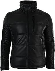 Veste doudoune blouson cintré pour homme rembourré en véritable cuir noir délavé capuche