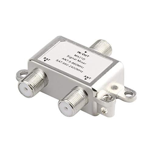 Wasserdicht 2 in 1 2 Wege Satelliten Splitter TV-Signal-Kabel-TV-Signal Mixer SAT/ANT Diplexer Dünner & Compact (Farbe: Silber)
