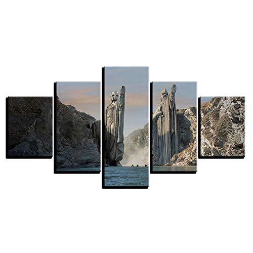 HQATPR HD Print Rahmen Poster Kunst Leinwand Malerei 5 Panel Statuen In Herr Der Ringe Modulare Bild Wand Für Wohnzimmer Große Größe Mit Rahmen -