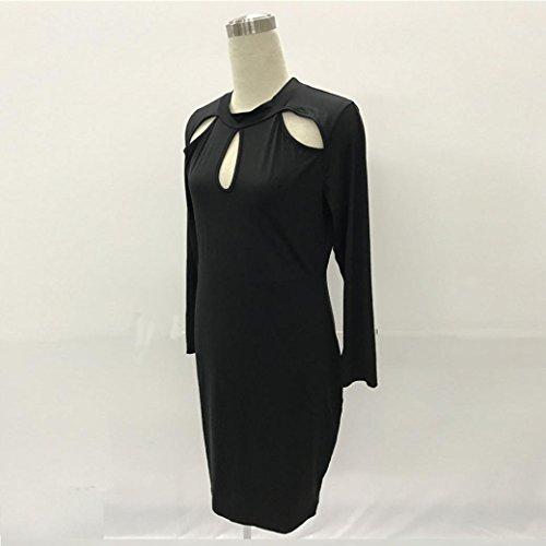 Tefamore Femmes Robe à Manches Longues à la Mode et à Manches Longues Noir