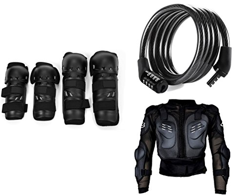 Auto Pearl Premium Quality Bike Accessories Combo of Fox Motorcycle Riding Knee and Elbow Guard (Black, Set of 4). & Cable Lock For Bicycle/Bike/Helmet/Luggage etc. & Fox Riding Gear Body Armor Protective Jacket For Bike - Black -Xtra Large.  available at amazon for Rs.1887