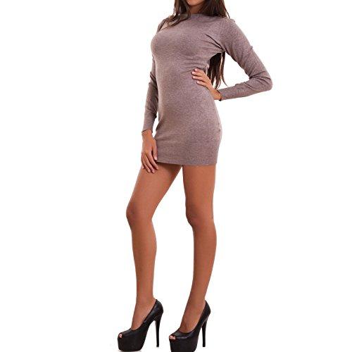 Vestito donna miniabito pull catena maniche lunghe corto sexy nuovo Y635 [S/M,BEIGE] Fango