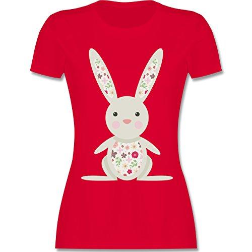 Küken Mädchen T-shirt (Shirtracer Ostern - Süßer Hase - Frühlingstiere mit Blumen - XL - Rot - L191 - Damen T-Shirt Rundhals)