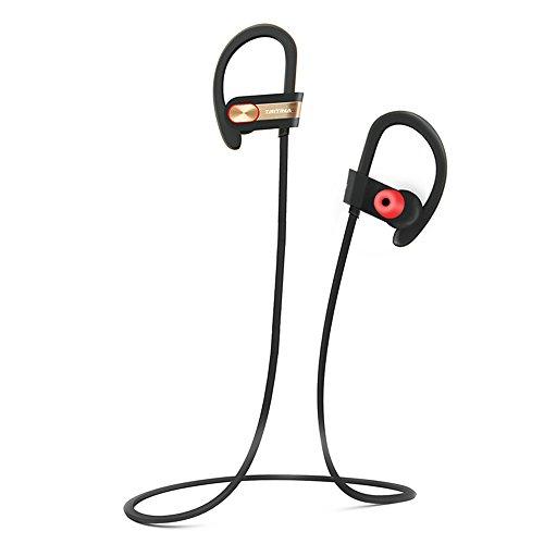 Tritina Sports Écouteur Bluetooth Microphone intégré - Son stéréo Embouts d'oreille, écouteurs sport résistant à la sueur Course à pied, jogging avec musique --- (noir avec or)