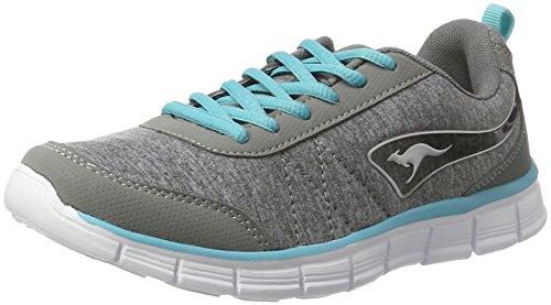 KangaROOS Damen KR-Run REF Sneaker, Grau (Vapor Grey/Turquoise 2035), 37 EU