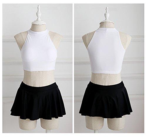 2PCS Sexy Schwarz Weiß Bikini Crop Oberteil Top Mit Skirted Boxer Badeshorts Strandkleidung Schwarz Weiß