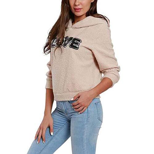 Ynalxfohnz Liebesbriefe drucken Sherpa Hoodie Frauen Fleece mit Kapuze Sweatshirt Sportwear (Color : Apricot, Size : S) -