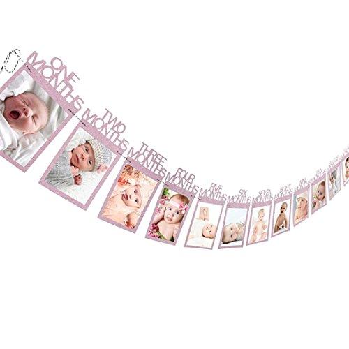 Ndier Photo Tenture Cadres Photo Cadre Photo Bunting Anniversaire bannière Kit d'affichage pour Les Enfants 1-12 Mois, Enfants en Bas âge, Rose-Nouveau-nés Produits Pratiques
