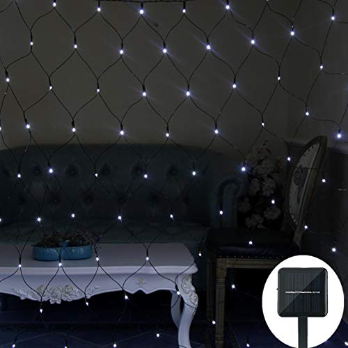 Solar Netz Außen 200 LED Pavillon Terrasse Wand Pfad Zaun Beleuchtung mit Blinkfunktion 3m x 2m 8 Modi grünes Kabel Gartenbeleuchtung Solarlichterkette Außenlichterkette-Weiß