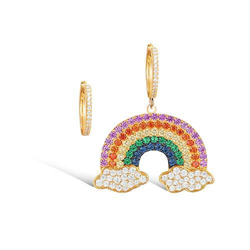 Emma Gioielli - Orecchini da Donna Asimmetrici Pl. Oro Cerchio Cerchietti Pendente Nuvole Arcobaleno Rainbow con Cristalli SWAROVSKI ELEMENTS Multicolor - Confezione Regalo