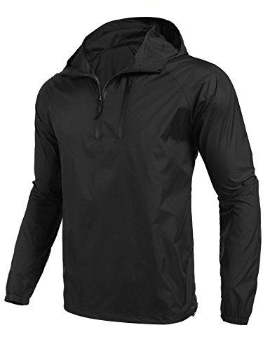 Coofandy Mens Hooded Windbreaker Pollover Lightweight Sports Jacket