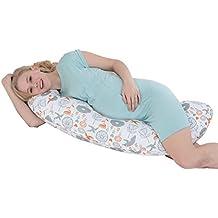 i-baby Almohada Embarazada Dormir de Maternidad Embarazo Prenatal Cojín Maternal Almohada Soporte de Cuerpo y Lactancia Funda Lavable con Cremallera de 100% Algodón Forma C Pájaros