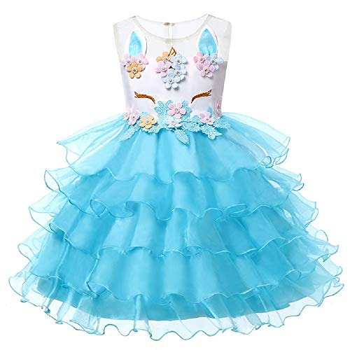 Cute Little Girl Kostüm - OHBABYKA Little Girls Cute Casual Blumenmädchen Einhorn Kostüm Kinder Festzug Prinzessin Partykleid (2 Years-90, Blau-1)
