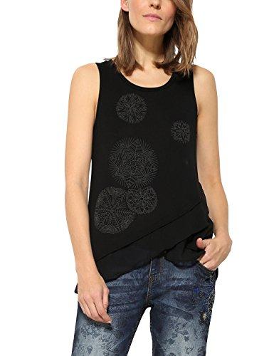 Desigual Damen T-Shirt TS_AGU, Schwarz (Negro 2000), M (Herstellergröße: Large)