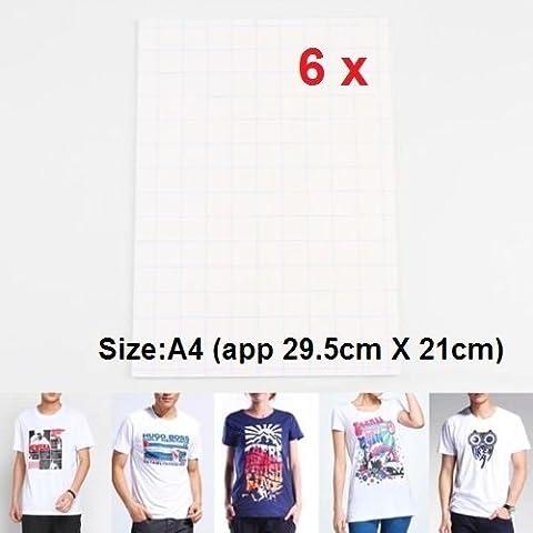 Vale® [6 hojas] A4 camiseta de transferencias de calor de papel para impresoras de inyección de tinta de color blanco o de color claro