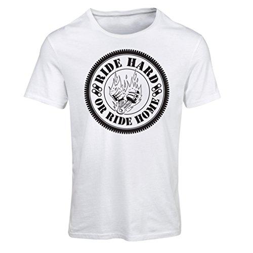Maglietta Donna Ride Hard! Biker Clothing (Medium Bianco