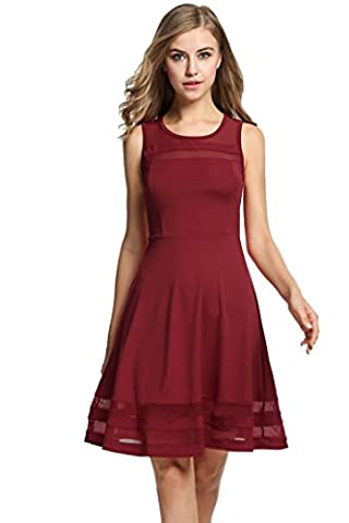 HOTOUCH Femme Robe Rouge Trapèze Taille Empire Col Rond Sans Manches M