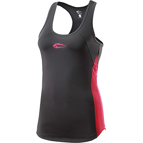 SMILODOX Sport Tank Top Damen | Trainingsshirt ideal für Gym Fitness & Workout | Ärmelloses Sport T-Shirt - Bequemer Schnitt - Sporttop- Unterhemd - Trägershirt , Größe:M, Farbe:Dark Grey-Neon Rose (Training Basic Tank)