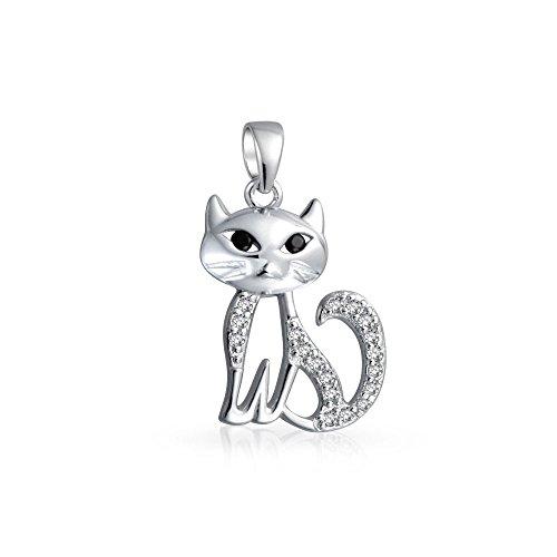 Bling Jewelry Cute Sitting Kitty Kitten Katze Anhänger Zirkonia CZ Pet Kette Mit Anhänger Für Damen Für Jugendlich 925 Sterling Silber -