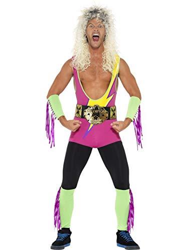 Luxuspiraten - Herren Männer 90er Jahre Retro Wrestling Kämpfer Kostüm mit Bodysuit, Gürtel, Arm und Beinmanschetten, perfekt für Karneval, Fasching und Fastnacht, XL, Pink