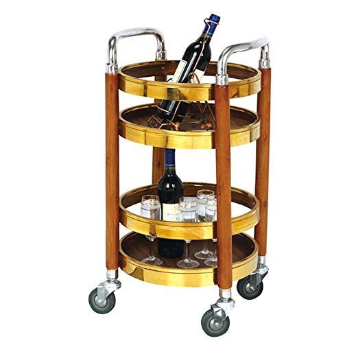 COOCAQI+Trolley 2-stöckige hölzerne Speisewagen-Kücheninsel, Hotelrestaurant-Servierwagen, Rollwagen