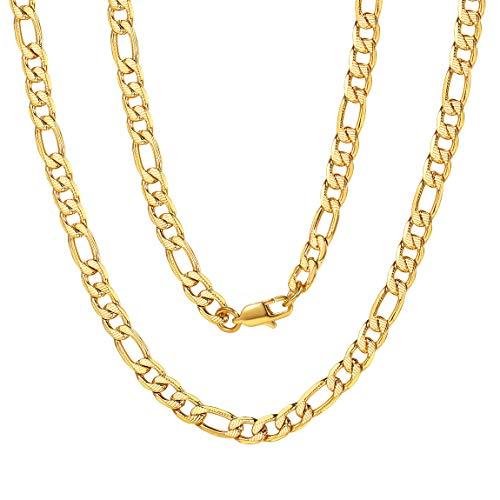ChainsPro Figarokette Herren Kette ohne Anhänger Herrenschmuck Klassische Herren Halskette 316L Edelstahl ketten18/20/22