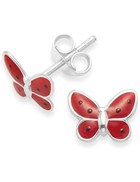 terling Silber Kinder Silber Schmetterling unterschiedliche. Größe: 8 mm x 6 mm 5923RED. Geschenkbox. Ohrstecker...