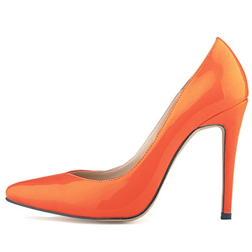 HooH Femmes Simple Bonbons Couleur Glissement Stiletto Escarpins Orange