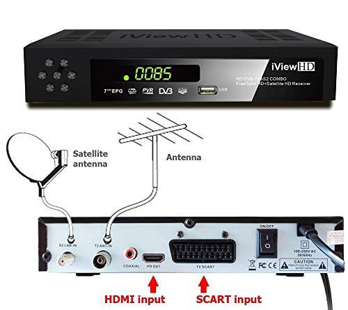 Combinado Receptor TDT HD  Receptor satelital de TV Full HD Terrestre España del satélite Decodificador sintonizador Programa de registrador 1080P ASTRA 19:20 ° E Hispasat 30W grabador DVB-T2 DVB-S2