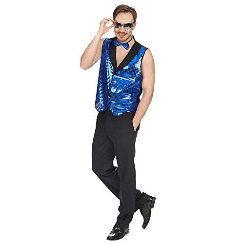 Gilet disco paillettes pour homme accessoire de costume pour Carnaval et fête à thème bleu Bleu