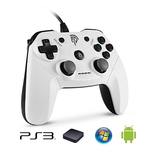 [Manette PC/PS3 Filaire] EasySMX EG-C3071C Manette PS3 avec Double Vibration, Manette Android Connectée par Fil et Fourni avec un Adaptateur pour Compatir Playstation 3/PC/Smart TV/TV Box/Android Smartphone/Tablette (Blanc+Noir)