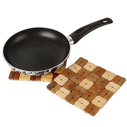 Navisha Bamboo Coaster / Pan Pot Holder Heat Insulation Pad, Square 14Cm*14Cm, 2 Piece Set (Random Patterns)  available at amazon for Rs.150
