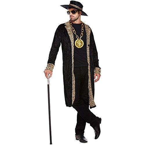 Pimp Kostüm (Schwarz) - One size (Pimp Mantel Kostüm)