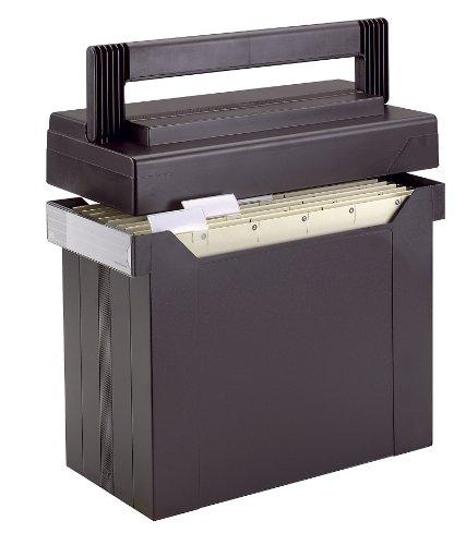 ELBA 100081045 Hängemappen-Box go set go 1 Stück gefüllt mit 5 Hängemappen abnehmbarer Deckel Das mobile Büro schwarz Hängemappen-Koffer Hängeablage-Box Hängemappen-Registratur