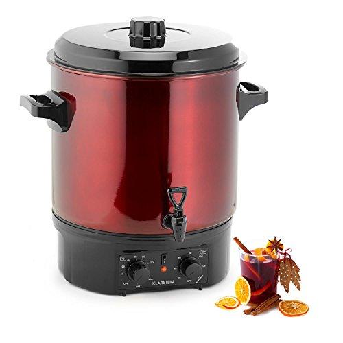 Klarstein Biggie Einkochautomat elektrisch Einkoch Topf Einkocher Heißgetränkespender (27 Liter Tankinhalt, 2000 Watt Leistung, einstellbarer Timer, Edelstahl) rot