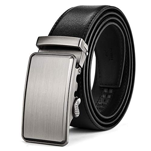 BOYOU Men's leather belt with sliding automatic buckle for men Black
