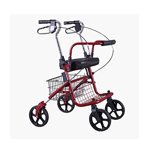 AMY-ZW Zusammenklappbarer Vierrädriger Rollator for Ältere Menschen Und Seat Walker Einkaufswagen Behinderter Rettungsunterstützter Gehrahmen-Sicherheitshandlauf