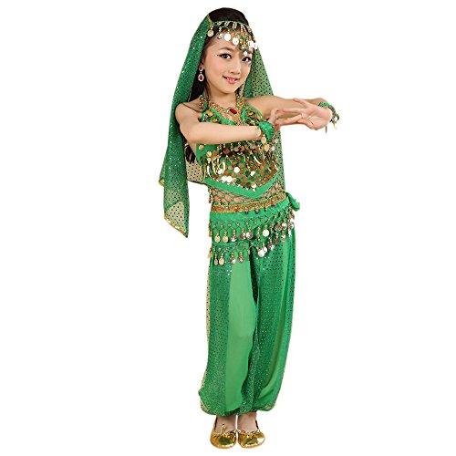 (KINDOYO 5 Stück Kinder Bühne Kostüme, Mädchen Bauchtanz indischen Tanz Kostüm, Chiffon Pailletten ethnischen Tanzbekleidung (Grün, EU XL = Tag 2XL))