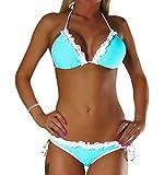 ALZORA Neckholder Damen Bikini Set Top und Hose mit Spitze, 10231 (XS, Türkis)