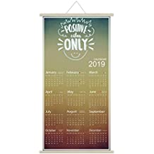 YaYa cafe Positive Vibes Only 2019 Wall Calendar Hanging Scroll (Synthetic, 12 x 24 inches, Multicolour)