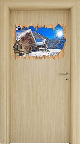 Gipfel Luft (verschneite Hütten in winterlicher Alpenlandschaft Holzdurchbruch im 3D-Look , Wand- oder Türaufkleber Format: 62x42cm, Wandsticker, Wandtattoo, Wanddekoration)