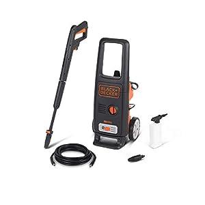 Black+Decker BXPW1600PE Hidrolimpiadora de Alta Presión (1600 W, 125 bar, 420 l/h) con Patio Cleaner y Cepillo Fijo