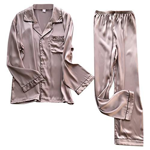 Damen Unterhosen FGHYH Simulation Silk Pyjamas Dessous Plus Size Langarm Lange Schlafhose Set(XL, Rosa) -