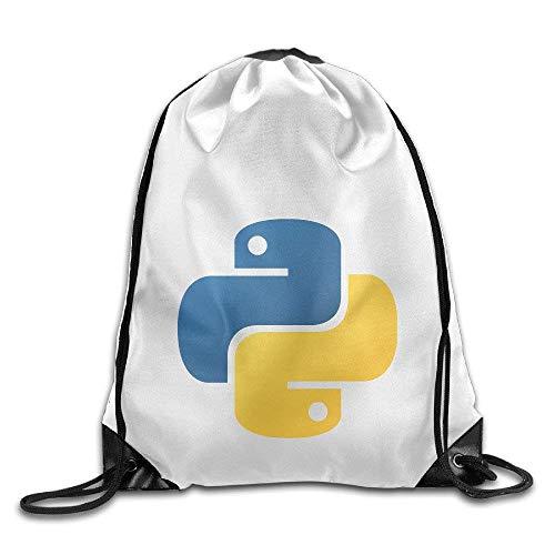 shuangshao liu Python Programming Perfect Rucksack mit KordelzugTasche For Men And Women For School Gym Sport Running White -