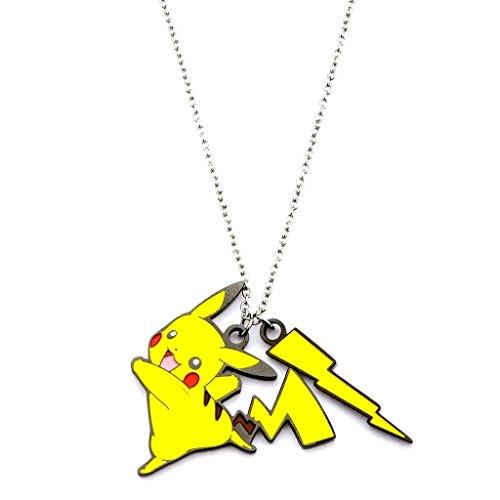 Catena e Ciondolo smalto in acciaio ufficiale Pokemon Pikachu Lightning Bolt