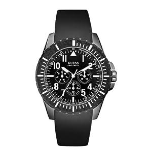 Guess W10261G1 - Reloj analógico de cuarzo para hombre con correa de piel, color negro de Guess