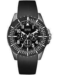 Guess W10261G1 - Reloj analógico de cuarzo para hombre con correa de piel, color negro