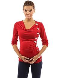 PattyBoutik Mujer Mama capucha botones de cuello de la tapa túnica de maternidad